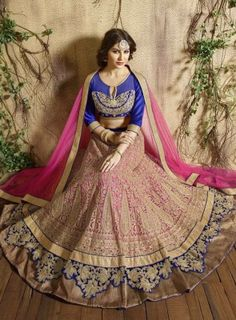 #Pink and #Blue Heavy Embroidered #Lehenga Features on net fabric embroidered lehenga with stone work, velvet fabric designer Blouse and net dupatta.