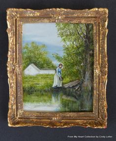 """""""Country Scene II"""" - An Original Oil Painting by Cindy Lotter Oil Painting On Canvas, Painting Frames, Country Landscaping, Country Scenes, Country Art, Small Art, Your Paintings, Windmill, Dollhouse Miniatures"""