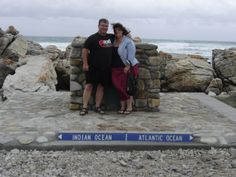 - Hilary and I standing in the Indian and Atlantic oceans respectively, Cape Agulhas Knysna, Atlantic Ocean, Oceans, Touring, South Africa, Cape, Indian, Holiday, Mantle