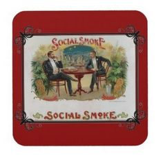Social Smoke Cork Backed Coaster Set-Vintage design cigar advertisement. Scene depicted is of two gentlemen dressed in tuxedos, seated at a table in a cigar lounge with the open veranda in the background.