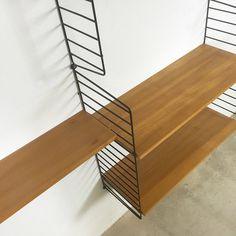 String Regal | Nisse Strinning | made in sweden | danish modern | elm wood | wall unit shelve system wandregal Regalsystem
