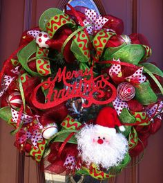 notice thin ribbon in wreath   red dot ribbon  and ball ornaments