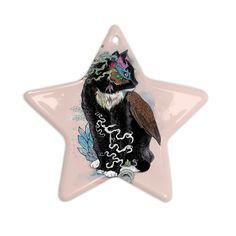 "Mat Miller ""Black Magic"" Abstract Cat Ceramic Star Ornament"
