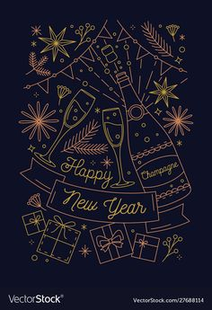 Happy New Year greeting card vector template. Champagne bottle and presents. New Year celebration. Postcard, poster line art design. Happy New Year Banner, Happy New Year Vector, Happy New Year Images, Happy New Year Cards, Happy New Year Greetings, New Year Greeting Cards, Happy Year, New Year Card Design, Chinese New Year Design