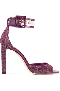 Heel measures approximately 100mm/ 4 inches Plum Lurex, clear PVC Buckle-fastening ankle strap Designer color: Jazberry Made in ItalySmall to size. See Size & Fit notes.