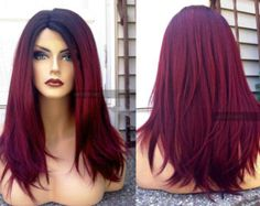 Human Hair BLEND Short Bob Wine Red Swiss Lace Front & PART