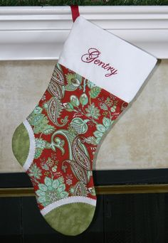 Girls red and green elegant personalized Christmas stocking. Paisley. CUSTOM