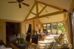 Dual aspect garden room built to match a cottage - Oakmasters Roof Truss Design, British Architecture, Ceiling Beams, Vaulted Ceilings, Roof Trusses, Roof Structure, Sunrooms, Cottage, Building
