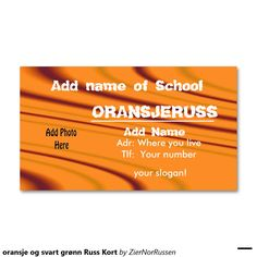 oransje og svart grønn Russ Kort Double-Sided Standard Business Cards (Pack Of 100)