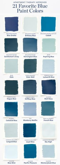 Color Cheat Sheet: The 21 Most Perfect Blue Paint Colors For Your Home — The M. Color Cheat Sheet: The 21 Most Perfect Blue Paint Colors For Your Home — The Modern Palette Best Blue Paint Colors, Paint Colors For Home, House Colors, Color Blue, Blue Green, Modern Paint Colors, Blue Wall Colors, Sky Blue Paint, Bathroom Colors Blue