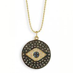 Sydney Evan necklace: Yellow-Gold & Diamond Evil Eye Medallion