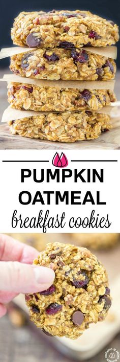 These grab-n-go Pumpkin Oat Breakfast Cookies are easy to make with good for you oats, pumpkin, a bit of chocolate, pecans and dried cranberries. Make ahead for those times when you are in a hurry but want something healthy to fuel your day! #breakfast #cookies #pumpkin