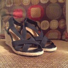 "Merona Black Wedges Black strappy sandals 3"", size 6, Pretty wedges Merona Shoes Sandals"