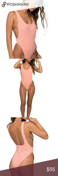 Motel Rocks Goddess Textured Swim One Piece Scoop Neckline, Thick Straps, Low Scoop Back, Cut Away Sides Trendy Pastel Peach Color Textured Poly/Rayon/Elastane Blend Fabric w/ Polyester Lining Motel Rocks Swim One Pieces