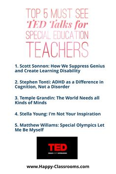 If you need a jolt of teacher inspiration check out the Top 5 TED Talks for Special Education Teachers. Visit the website for a FREE Positive Mindset Journal for Teachers