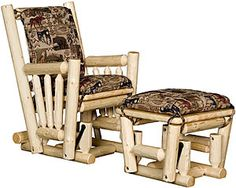 This finely crafted log glider features solid pine construction and a smooth gliding operation for long, peaceful nights in front of the fireplace. The matching ottoman also glides and is perfect for relaxing those tired legs. Glider Rocking Chair, Glider And Ottoman, Swinging Chair, Cabin Furniture, Shabby Chic Furniture, Rustic Furniture, Outdoor Furniture, Log Home Living, Six Drawer Dresser