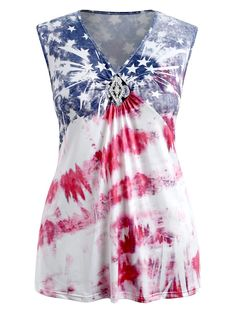 210612e26ef Plus Size American Flag Patriotic Tank Top - multicolor 5X Vintage Dresses  For Sale