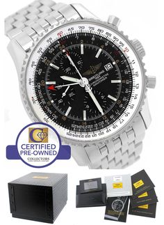2015 Breitling Navitimer World GMT Stainless Black 46mm A24322 Chronograph Watch
