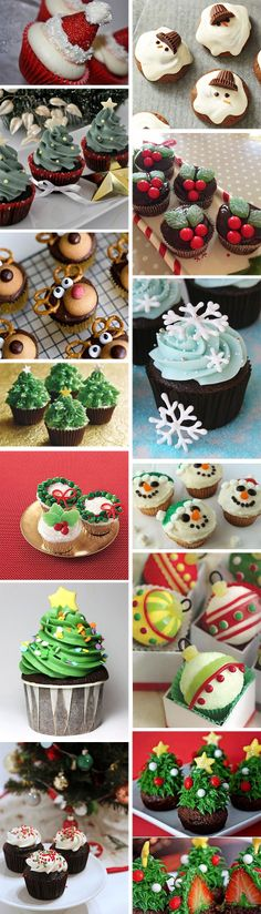 13 clever (and easy) Christmas cupcake decorating ideas-how to decorate Christma. - 13 clever (and easy) Christmas cupcake decorating ideas-how to decorate Christmas cupcakes – www. Christmas Snacks, Xmas Food, Christmas Cooking, Noel Christmas, Christmas Goodies, Simple Christmas, Holiday Treats, Party Treats, Amazon Christmas