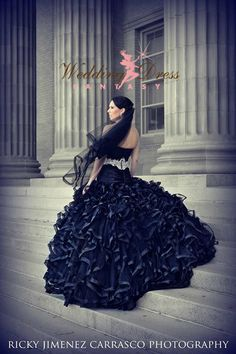 Splendida nero Wedding Dress Custom Made per le vostre misure