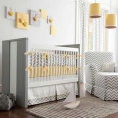 Baby room ideas - love yellow and gray