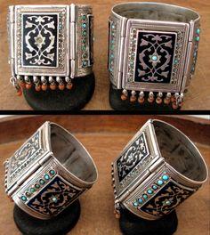 Uzbekistan   Pair of old silver, enamel, coral and turquoise bracelets   Bukhara region   Sold ~ Ann Porteus ~ Sidewalk Tribal Gallery