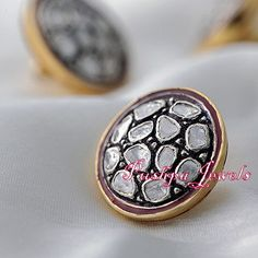 Uncut Diamond / Polki Rose Cut Diamond Studded Handmade Sterling 925 Silver Spacer Bead Finding Kurta Sherwani Button by TraditionalJewels on Etsy