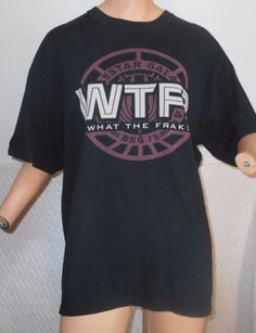 Battlestar Galactica WTF What The Frak T-Shirt XL Black Science Fiction   5000 #BattlestarGallactica #GraphicTee