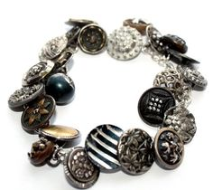 Antique Victorian Button Sterling Charm Bracelet.FrenchGardenHouse