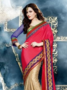 Red And Gold Colored Embroidered Georgette Savera Branded Designer Saree - Buy Red Georgette Embroidered Saree For only Rs.2,790 from Godomart Online Shopping Store India. Shop Online for Best Saree Collection Only at Godomart.com