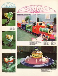 """McDonaldland Setmakers Promo Packet, Page Nine, 1972 // Featuring 5 pieces of memorable equipment, this page shows photos and descriptions for each item! // In a great piece of vintage McDonalds literature, flickr user Jason (jasonliebigstuff) shares this """"Playground Equipment"""" catalog/guide that was sent to McDonalds owners to promote the new concept of McDonaldland Playgrounds."""
