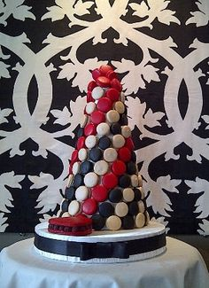 white, red and black macaron tower