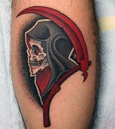 Red Manly Men's Grim Reaper Skull Tattoo #UltraCoolTattoos #Tattoosformen Neotraditionelles Tattoo, Tatto Old, Bone Tattoos, Leg Tattoos, Body Art Tattoos, Tattoos For Guys, Sleeve Tattoos, Death Tattoo, Dibujos Tattoo