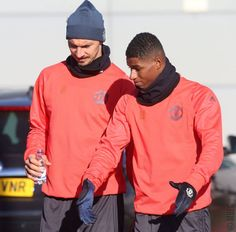 Ibrahimovic and Rashford training