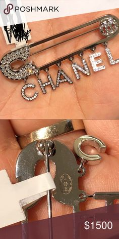 Authentic Chanel safety pin charmed brooch.❤️❤️ Authentic Chanel safety pin charmed brooch.  Silver encrusted with Crystal strass.  Super adorable and cute for those Chanel lovers and collectors Only 💯 % Authentic. CHANEL Jewelry Brooches