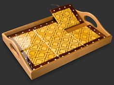 Brown and Mustard Mudcloth Tray