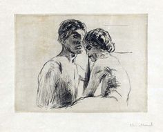 hagakuremarco1: dappledwithshadow:  Edvard MunchMan and Woman1914 Drypoint printed in black ink on wove paper  <3