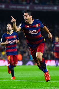 Luis Suarez of FC Barcelona celebrates after scoring his team's second goal during the La Liga match between FC Barcelona and SD Eibar at Camp Nou on October 25, 2015 in Barcelona, Catalonia.