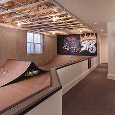 Basement Skateboard Room with Masonite Skate Surface