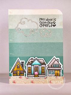 Card by PS DT Emily Leiphart using the PS Bitty Bungalows stamp set and coordinating dies along with the Clouds dies