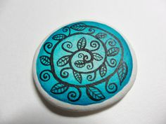 Teal leafy swirl miniature painting  on sea pottery by Alienstoatdesigns, $15.00