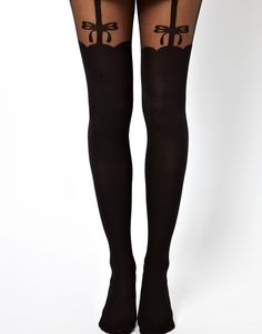 Bow suspender tights