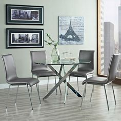 The sleek Putnam 5pc Dining Set: Table & 4 Side Chairs | Jerome's Furniture