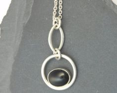 Large Sterling Silver Offset Spiral Pendant by EMWmetalworks