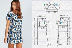 A petición de nuestra podpischitsy - el patrón del vestido Diana Diamond Print Shift Dress. El vestido en el estilo del retro, el corte simple directo, con corto vtachnymi por las mangas, el patrón a la dimensión 46 (los Dress Sewing Patterns, Sewing Patterns Free, Clothing Patterns, Fabric Sewing, Skirt Patterns, Blouse Patterns, Fashion Sewing, Diy Fashion, Sewing Clothes