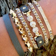 Gold & Grey stacked bracelets