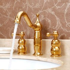 Antique Rose Gold Brass Three Hole Split Bathroom Faucet -USD $175.99