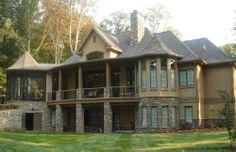 Rear exteriors on pinterest house plans walkout for Mountain cabin plans hillside