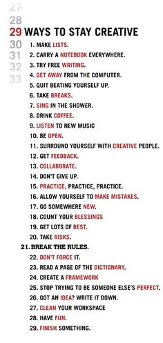 Love it!!!   20 Ways to Stay Creative!