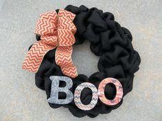 18  Black Burlap Halloween Wreath  BOO by cindidavis1 on Etsy, $30.00
